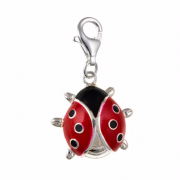 Sterling Silver cubic zirconia and enameled clip on ladybird charm